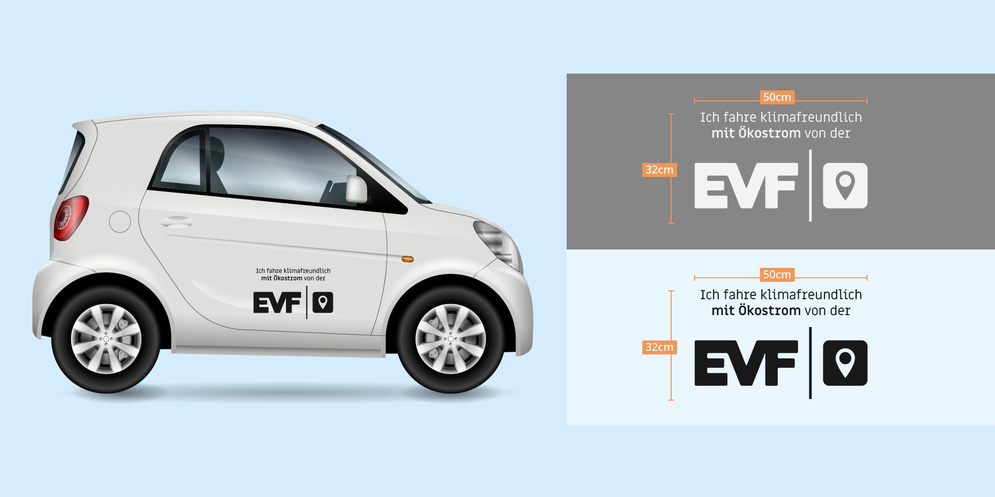 Auto mit EVF Aufklebern